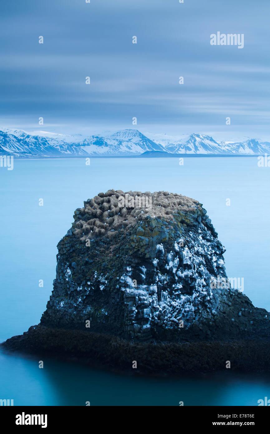 Una pila di mare striate con il guano di fulmars ed kittiwakes sulla costa nr Arnastapi, Penisola Snaefellsnes western Immagini Stock