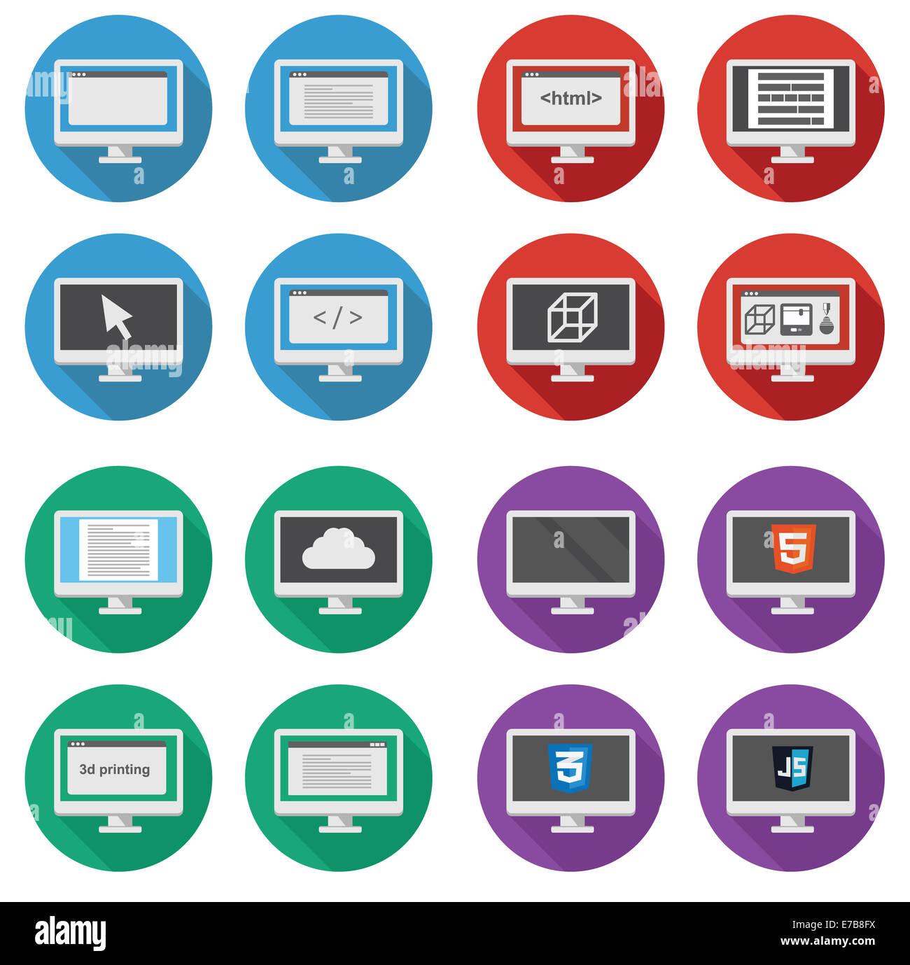Vettore Collezione di web development round icone: schermo del personal computer mostra lo sviluppo del web, lavoro Immagini Stock