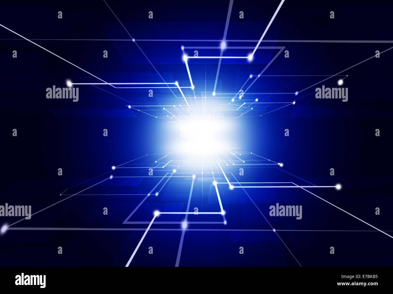 Tecnologia abstrcat business connection sfondo blu scuro Immagini Stock