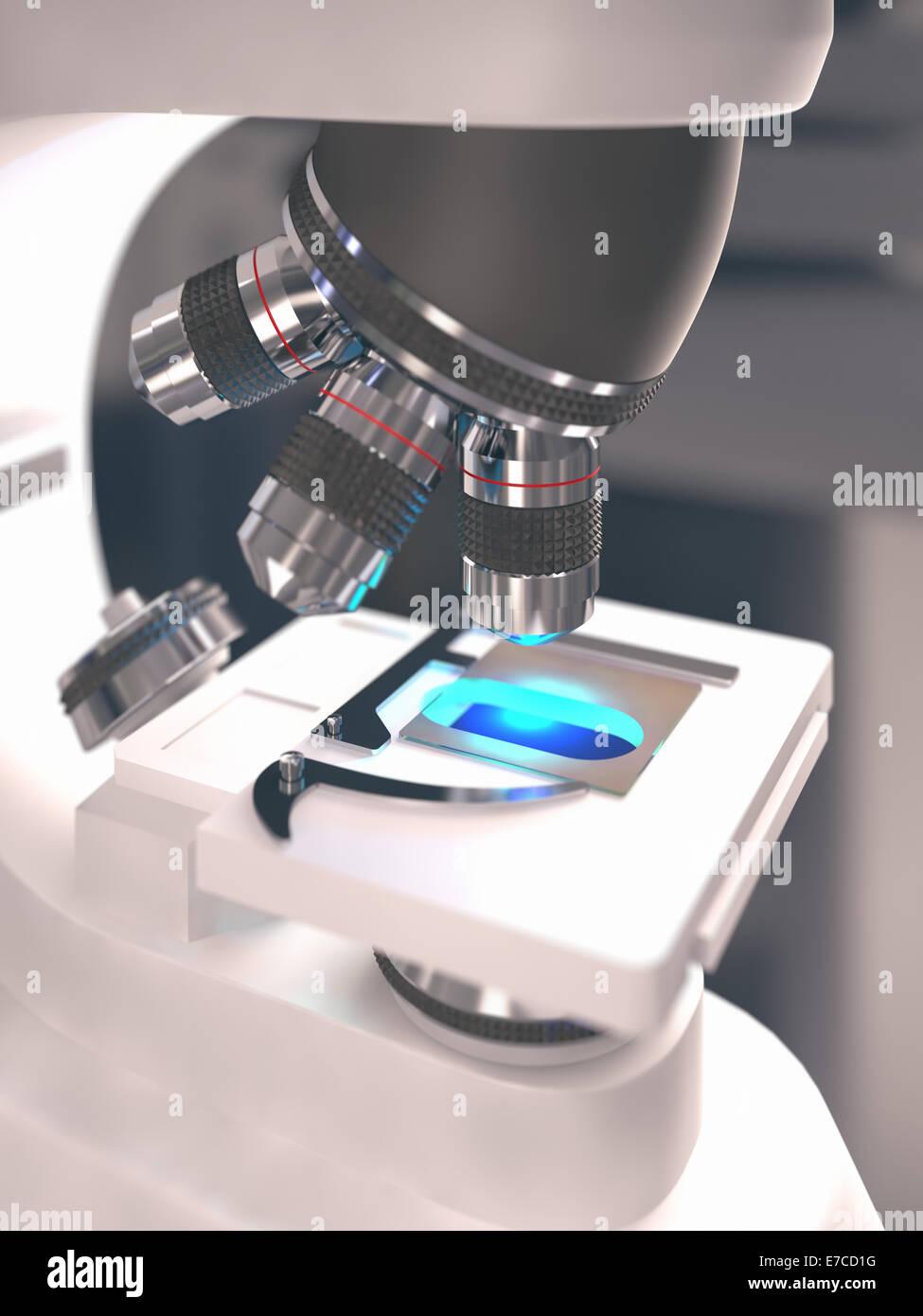 Microscopio con profondità di campo sulla lama. Immagini Stock