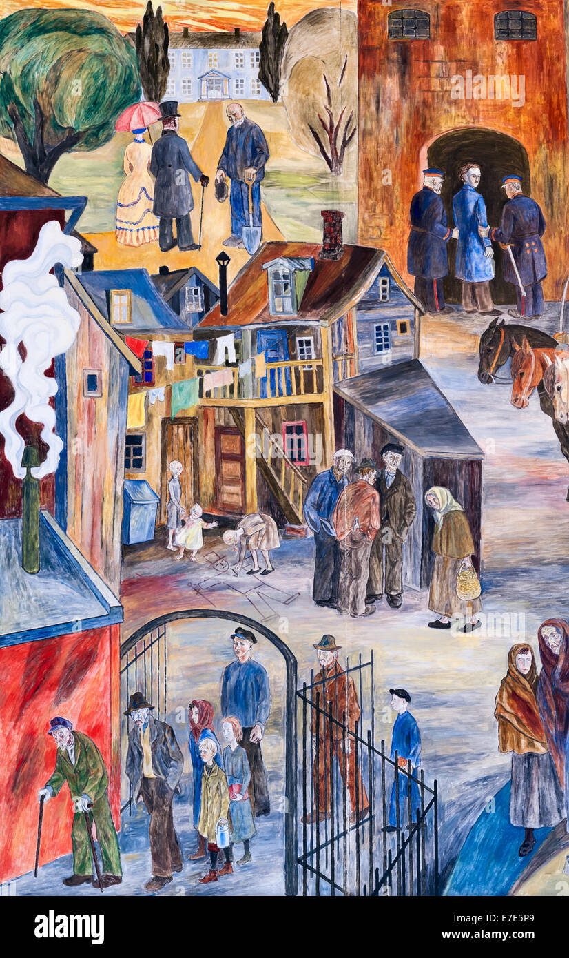Il Municipio (Radhus), Oslo, Norvegia. Un murale che mostra 19c la povertà in Norvegia, prima dell'indipendenza Immagini Stock