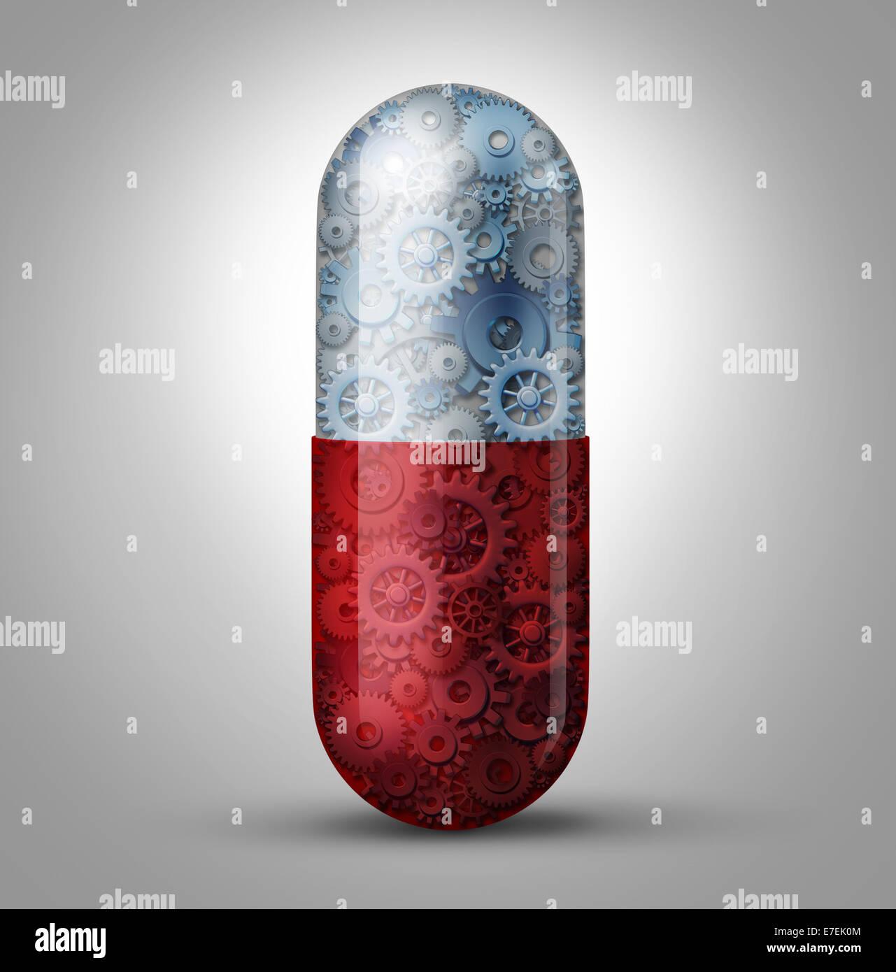 Il futuro della medicina e della bioingegneria il concetto come una pillola magica capsula con ingranaggi e ruote Immagini Stock