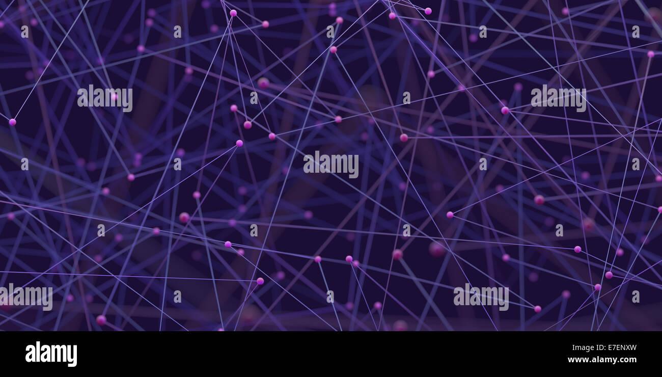 Sfondo astratto dei tubi e dei collegamenti in una rete di tecnologia Foto Stock