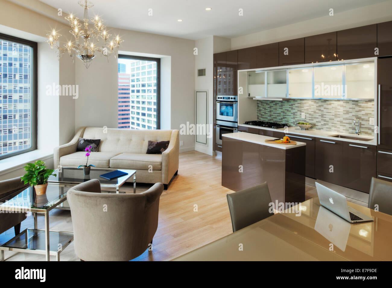 Cucina e sala da pranzo e soggiorno in appartamento urbano ...