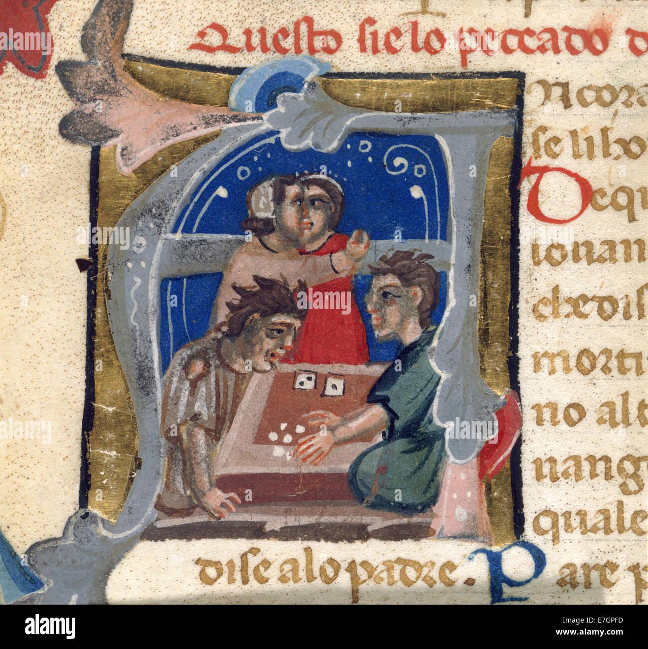 I giocatori di dadi - Lo Libro de Multi Belli Miraculi (XIV C), f.9v - BL ADD MS 22557 Immagini Stock