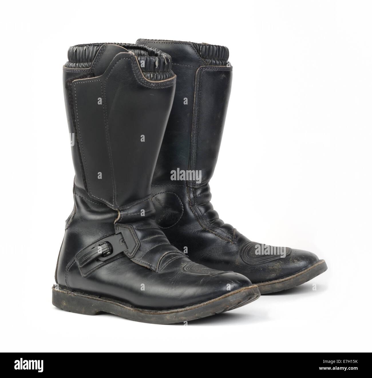 Alti stivali da moto.con fibbia in metallo Foto & Immagine