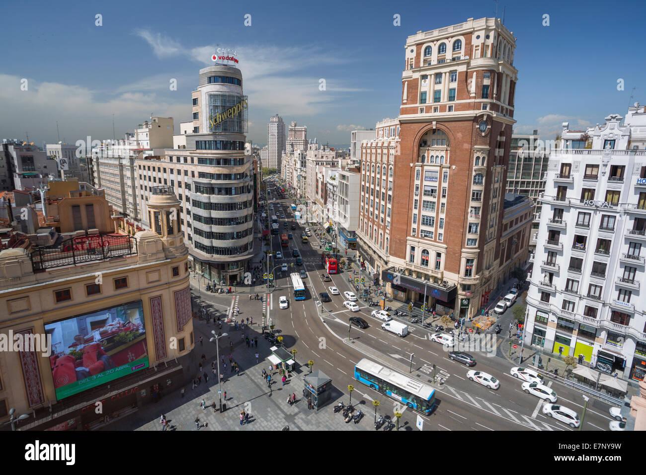 Avenue, Callao, Città, Gran Via, Madrid, Spagna, Europa, quadrato, architettura, Downtown, il modernismo, turismo Immagini Stock