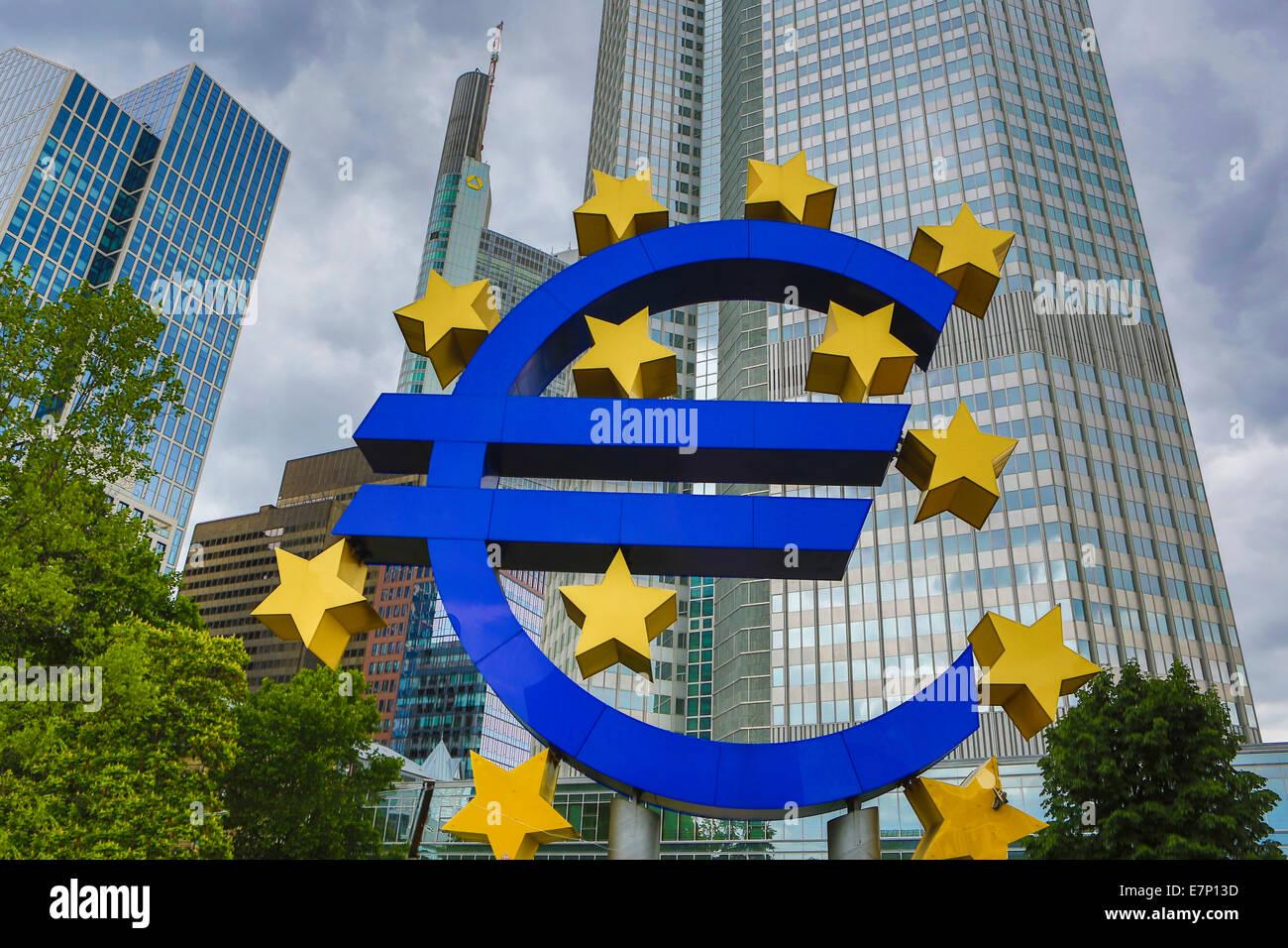 Ue, Euro, Francoforte, Germania, Europa, banca, blu, business, città, Unione europea, immagine, denaro, monumento, Immagini Stock