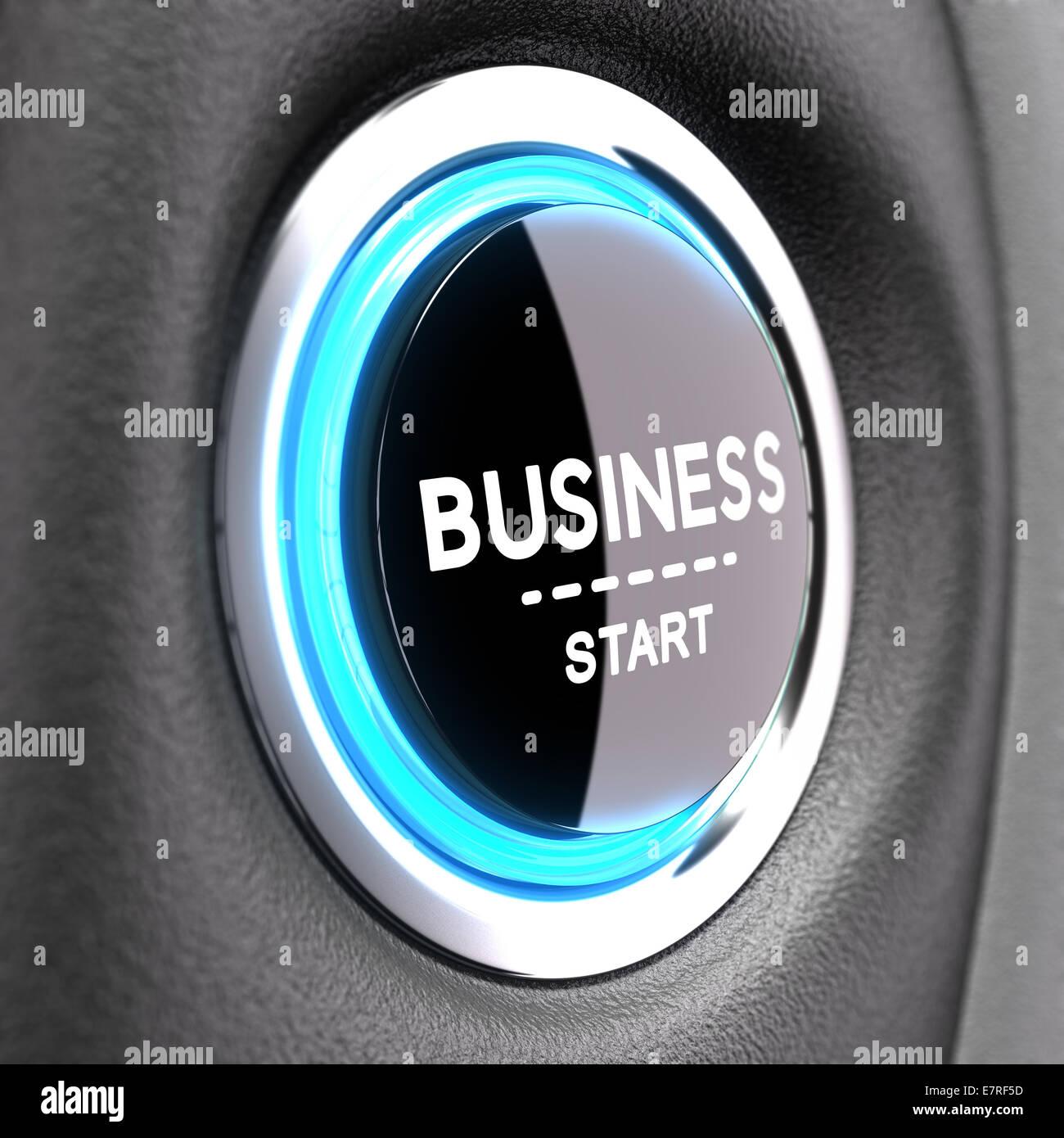 Blu pulsante Push con la frase business start. Concetto di immagine per illustrare il nuovo business Immagini Stock