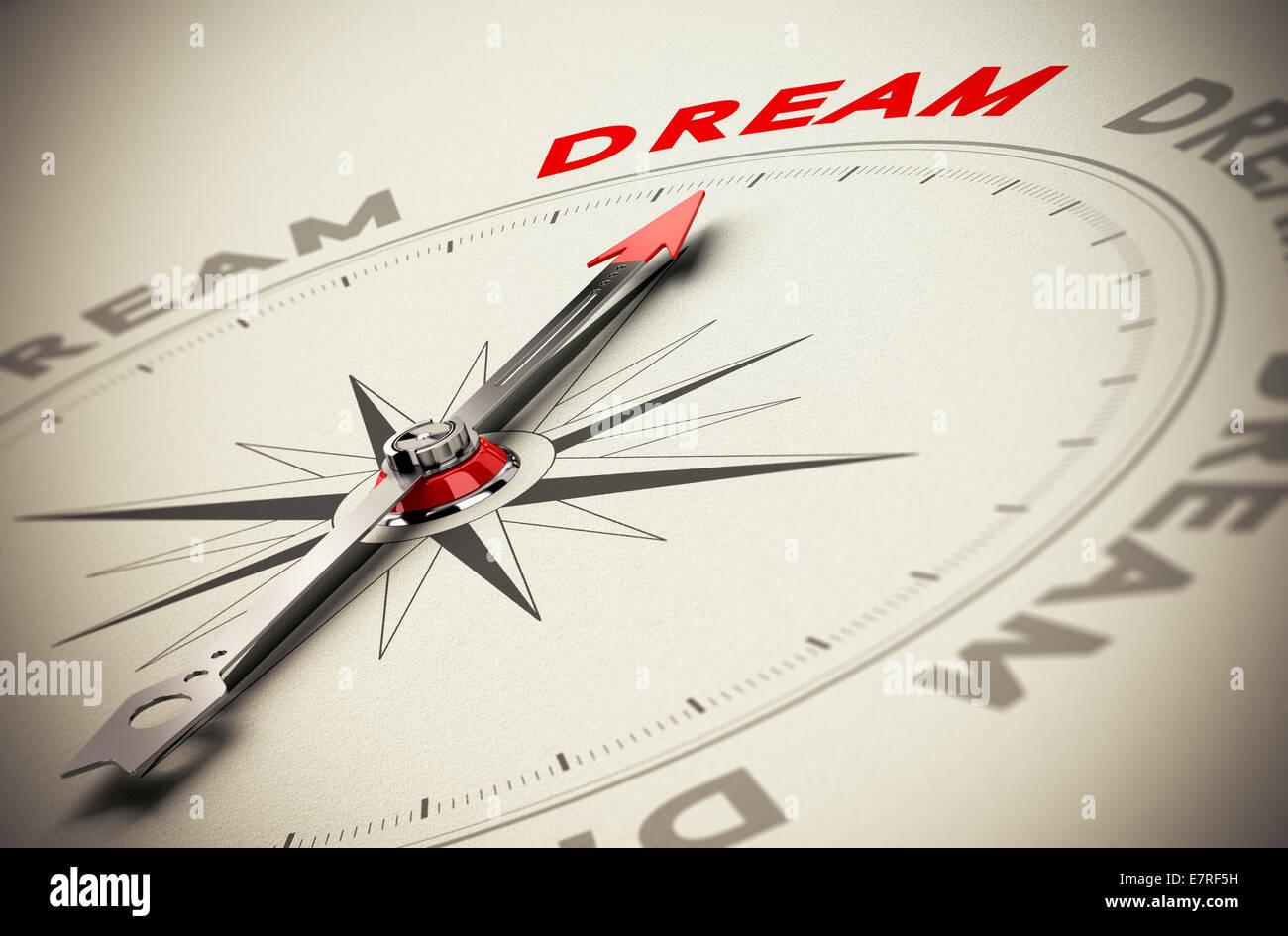 Bussola con ago rosso rivolto la parola sogno, beige sfondo della carta, simbolo del raggiungimento di sogni Immagini Stock