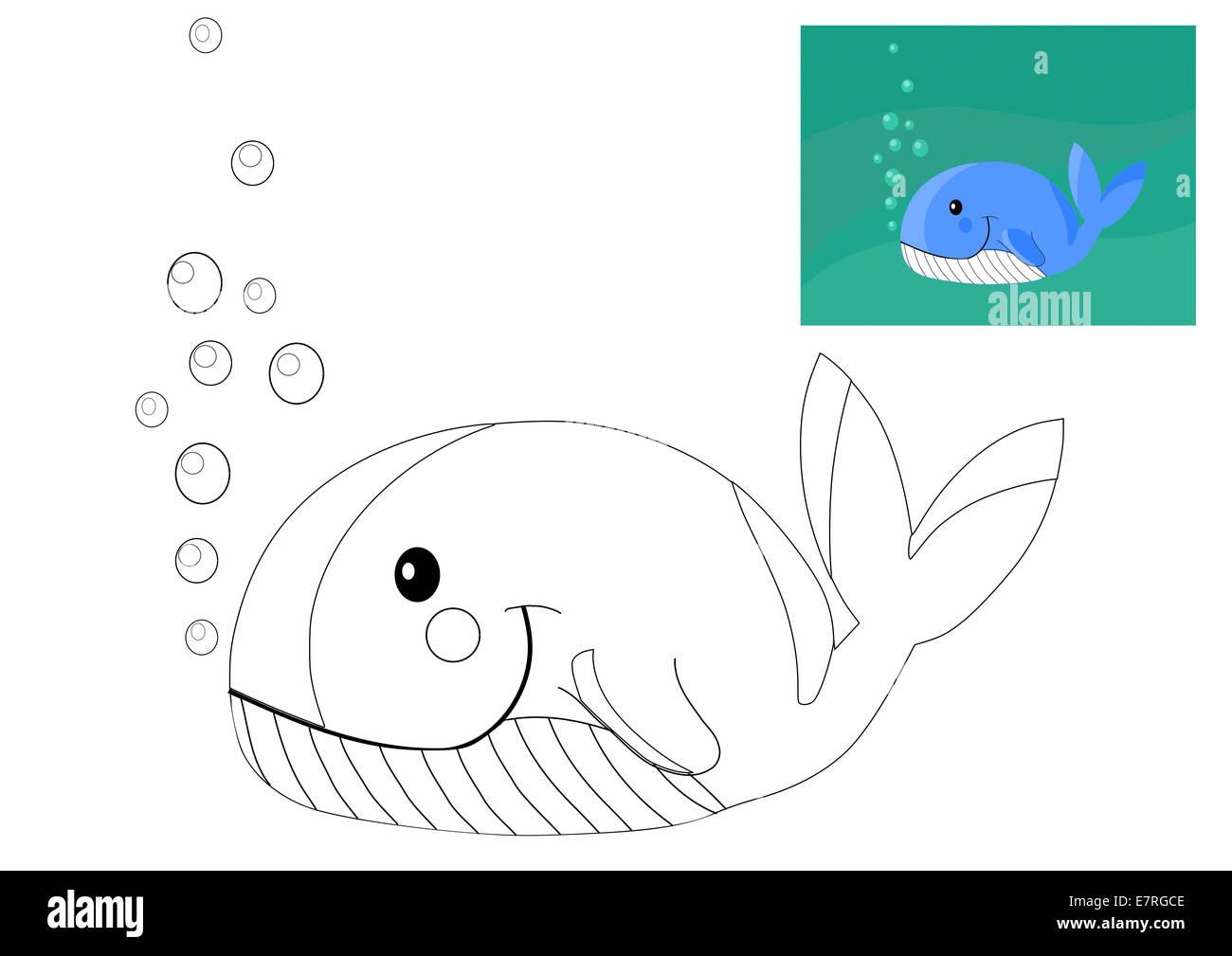 Libro da colorare con la balena illustrazione vettoriale