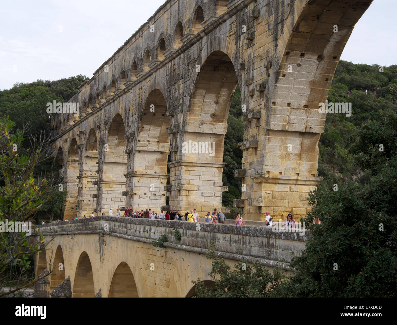 Il Pont du Gard, acquedotto romano, Gard, Languedoc-Roussillon, Francia, Europa Immagini Stock