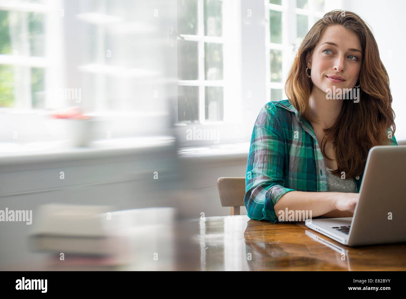 Donna sorridente con notebook in ufficio a casa. Immagini Stock