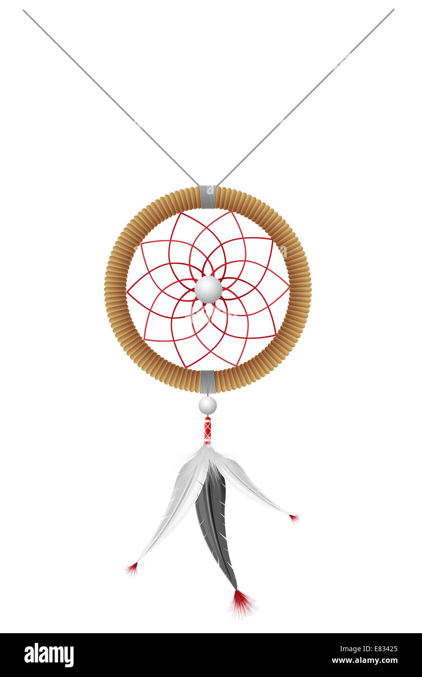 Amulet degli indiani americani illustrazione isolati su sfondo bianco Foto Stock