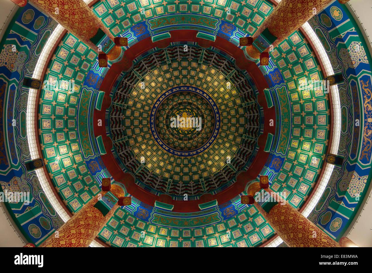 Elk203-6314 Canada, Alberta, Calgary, il Centro Culturale Cinese, presentano, a soffitto Immagini Stock
