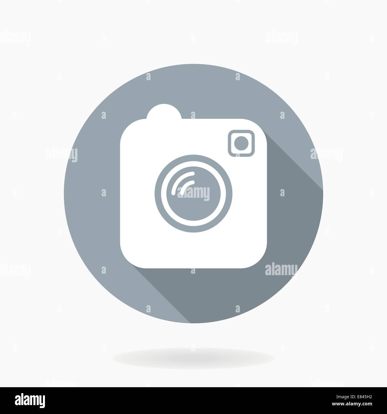 Fotocamera icona vettore con design piatto nel cerchio blu con lunga ombra Immagini Stock