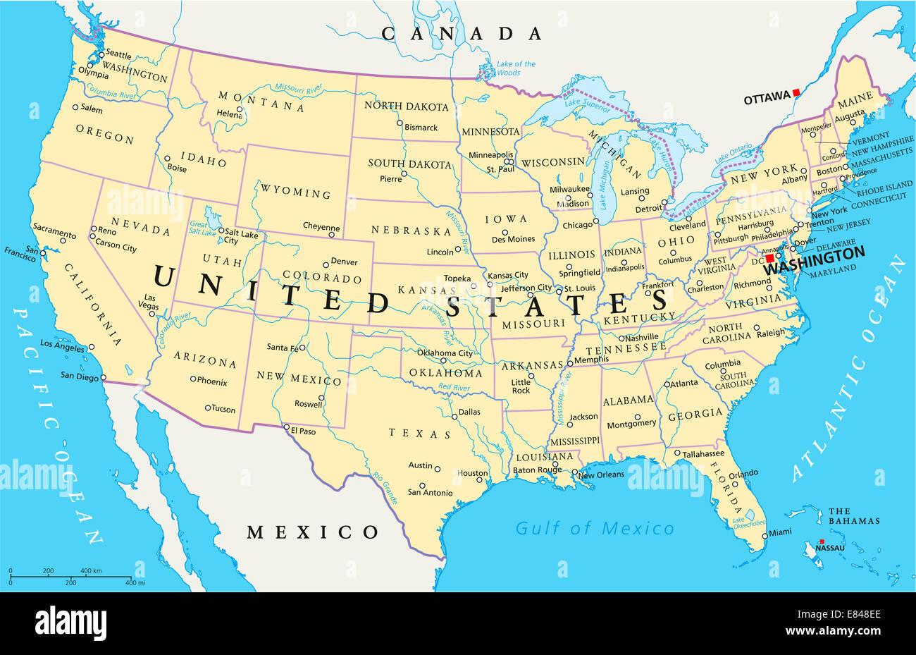 Cartina Stati Usa