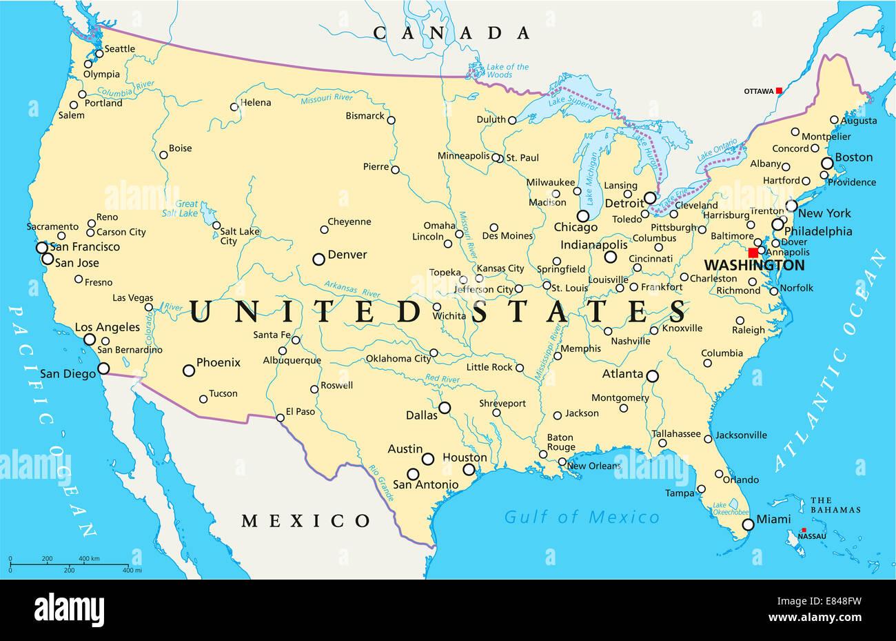 Cartina Fisico Politica Usa.Stati Uniti D America Mappa Politico Foto Stock Alamy