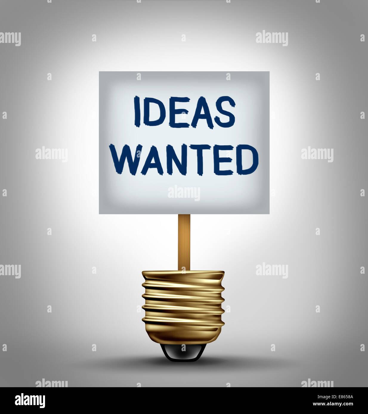 Idee voluto concetto e di talento di simbolo di ricerca come un segno con un annuncio simbolo in un vuoto che la Immagini Stock