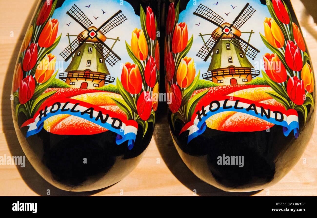 Tradizionali zoccoli olandesi, Amsterdam, Paesi Bassi Immagini Stock