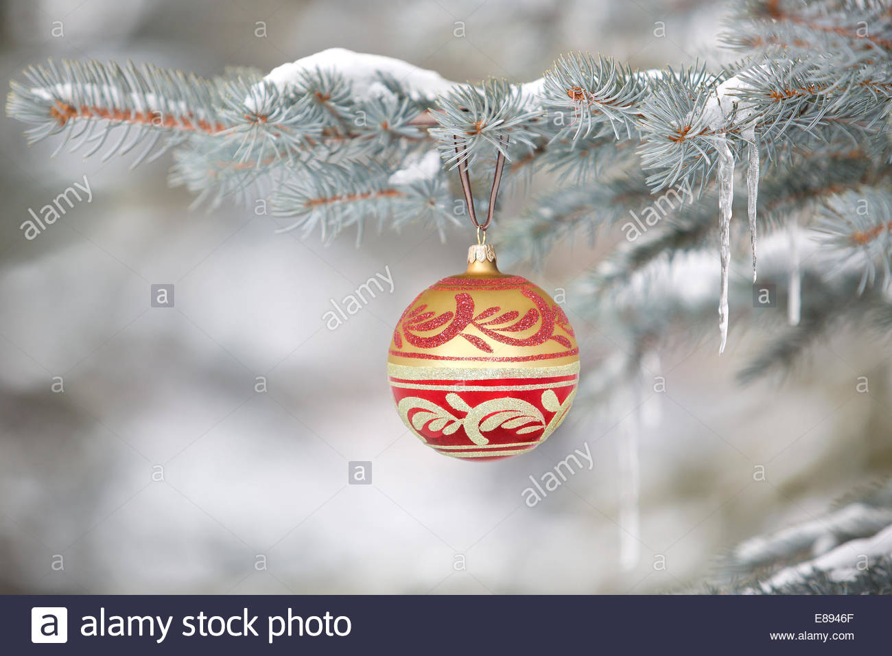 Decorazione per albero di Natale appeso su albero con ghiaccioli Immagini Stock