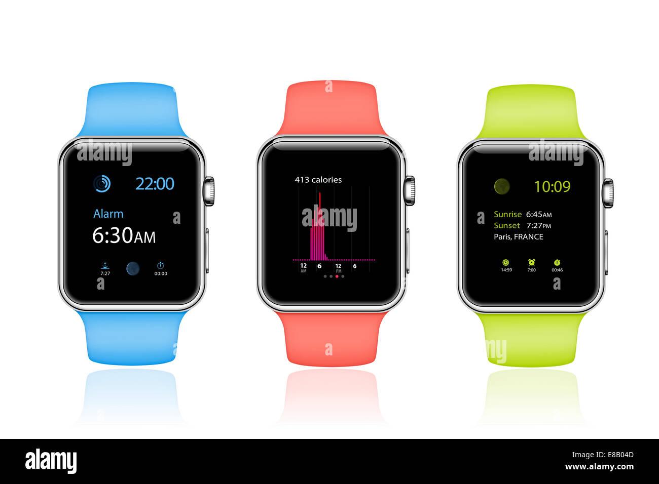 Apple guardare dello sport (blu, rosa, verde) dispositivo mobile generati digitalmente le immagini. Immagini Stock