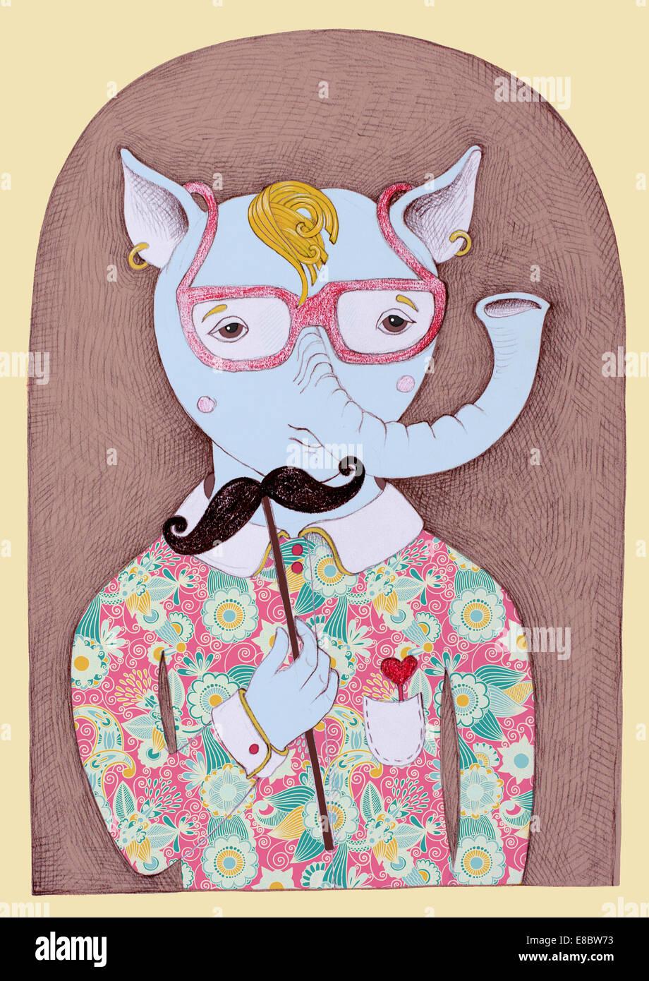 Insolito Originale Disegno A Matita Di Hipster Animale Fantastico