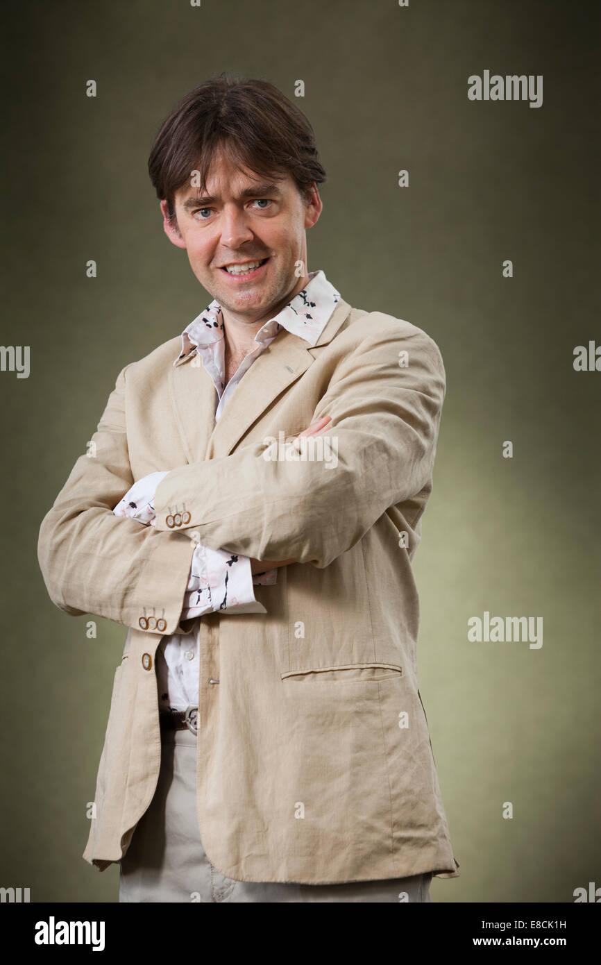Robert Wilton, autore di narrativa storica, a Edinburgh International Book Festival 2014. Edimburgo, Scozia. Immagini Stock