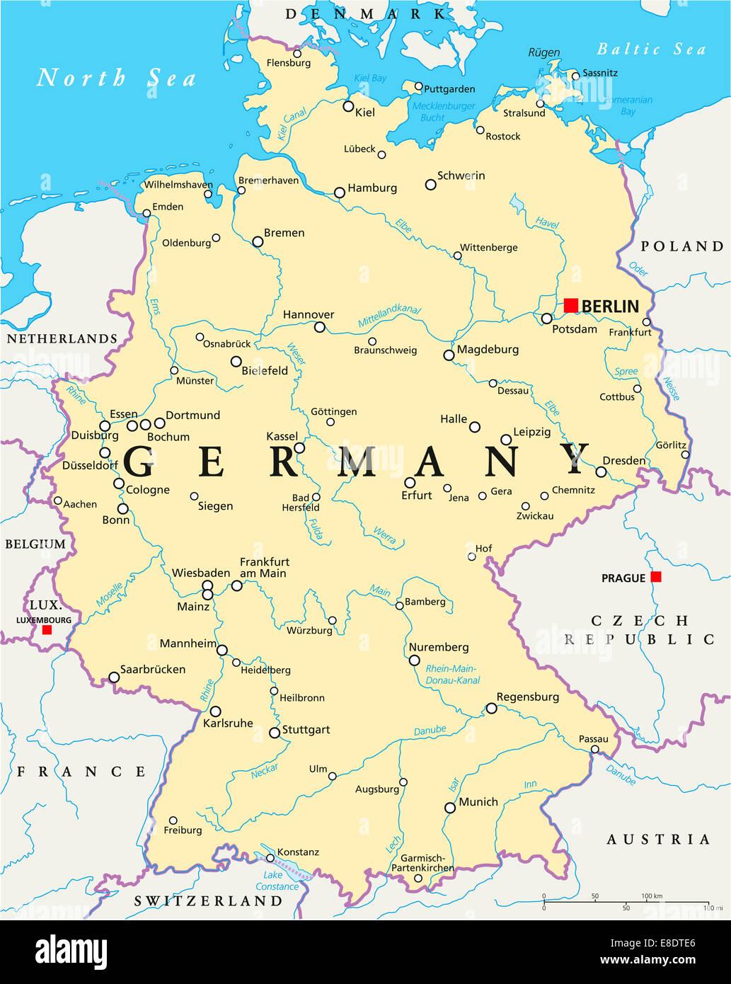 Fiumi Germania Cartina.Germania Mappa Politico Con Capitale Berlino Confini Nazionali Piu Importanti Citta Fiumi E Laghi Etichetta Inglese Scaling Foto Stock Alamy