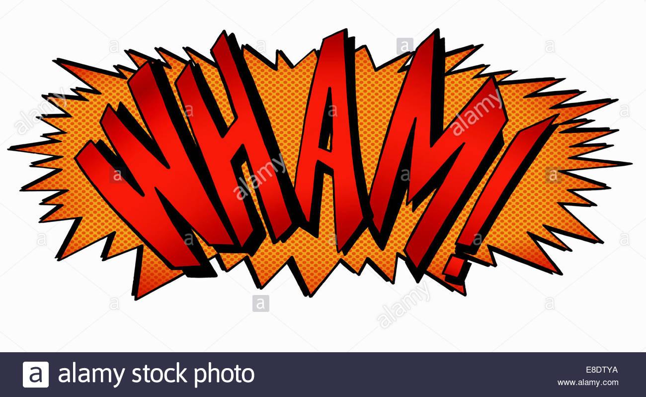 Wham! Fumetto testo effetto sonoro Immagini Stock