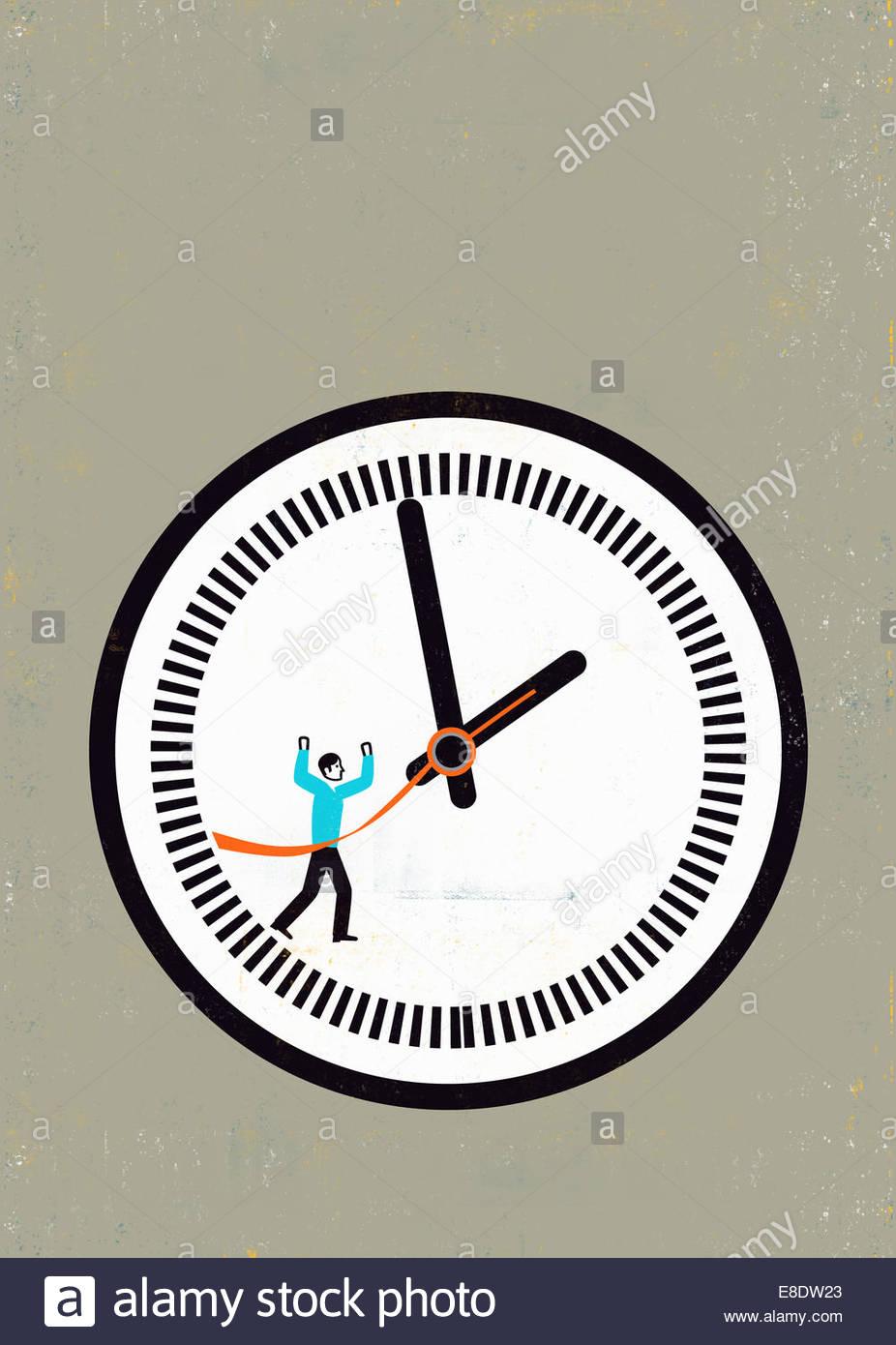 Imprenditore Attraversamento linea di finitura sull'orologio Immagini Stock