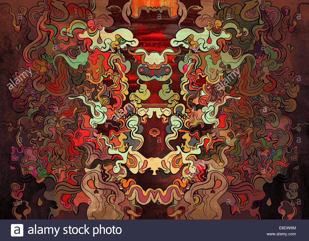 Abstract red aggrovigliato simmetrici scarabocchio pattern Immagini Stock