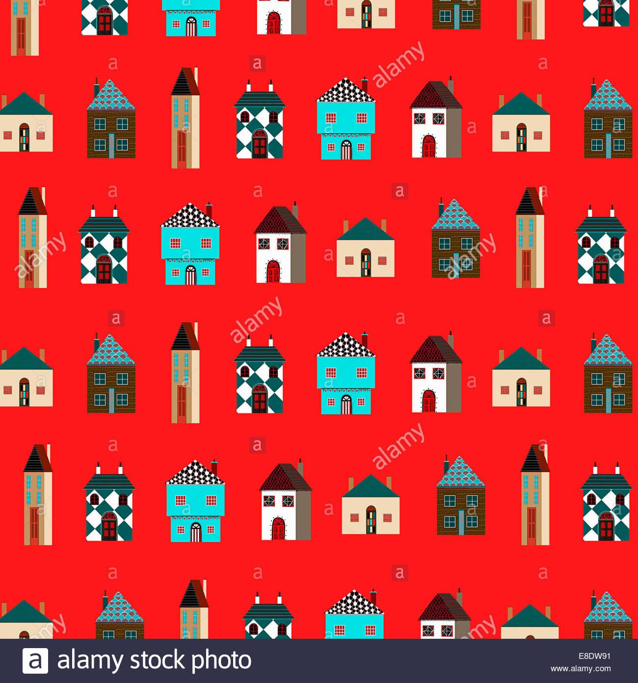Modello Di Righe Di Diverse Case Su Sfondo Rosso Foto Immagine