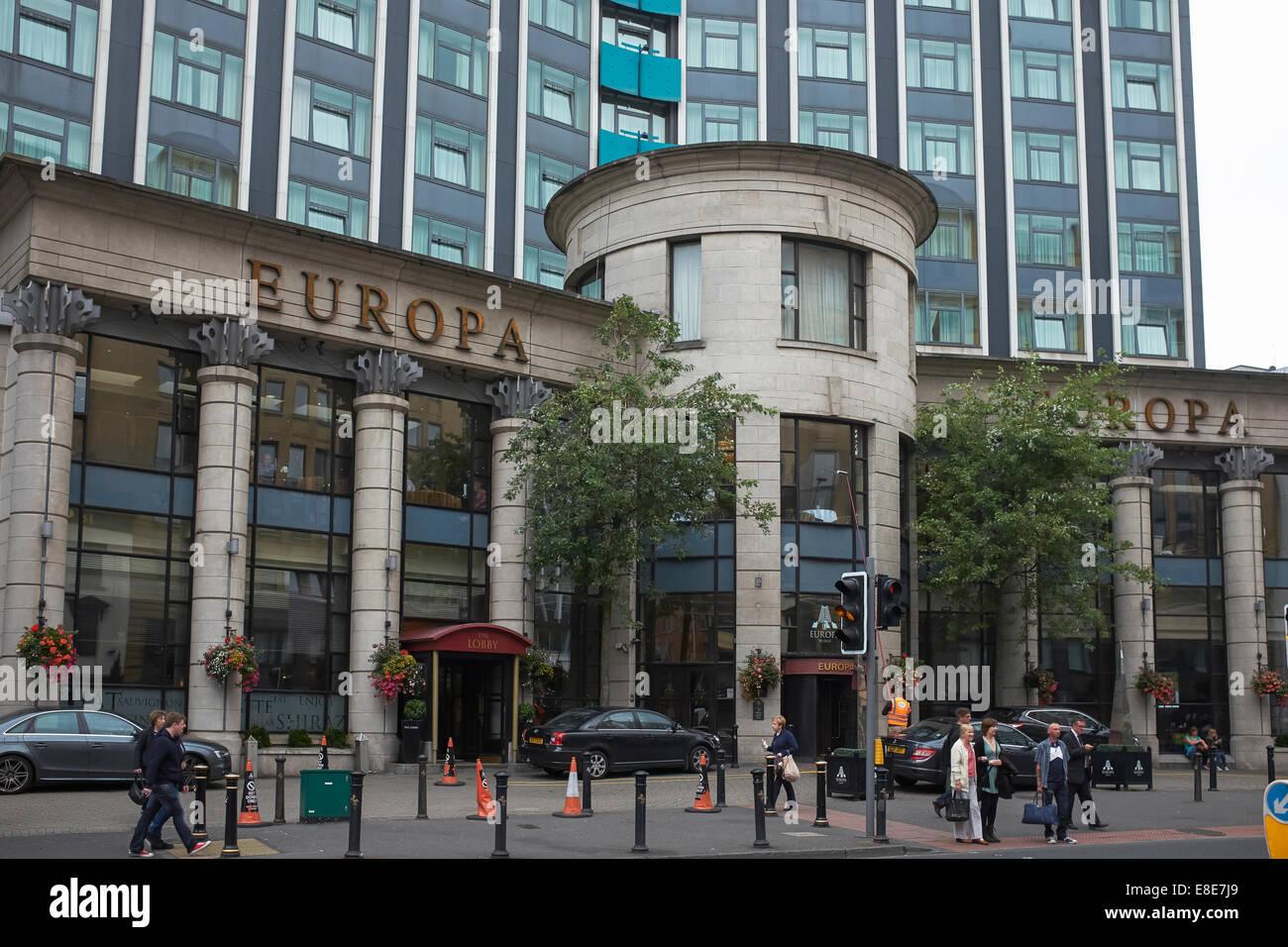 Ingresso al Europa Hotel a Belfast City Centre Immagini Stock