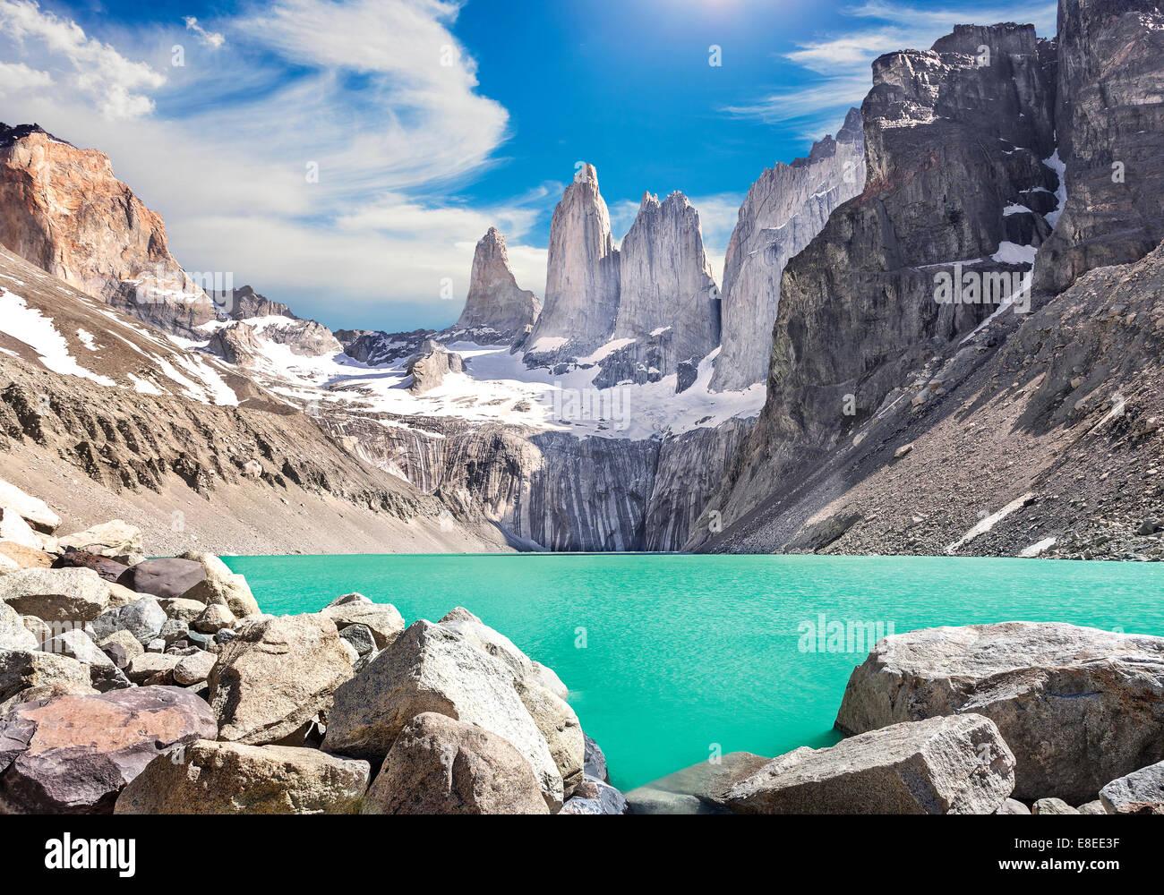 Torres del Paine montagne, Patagonia, Cile Immagini Stock