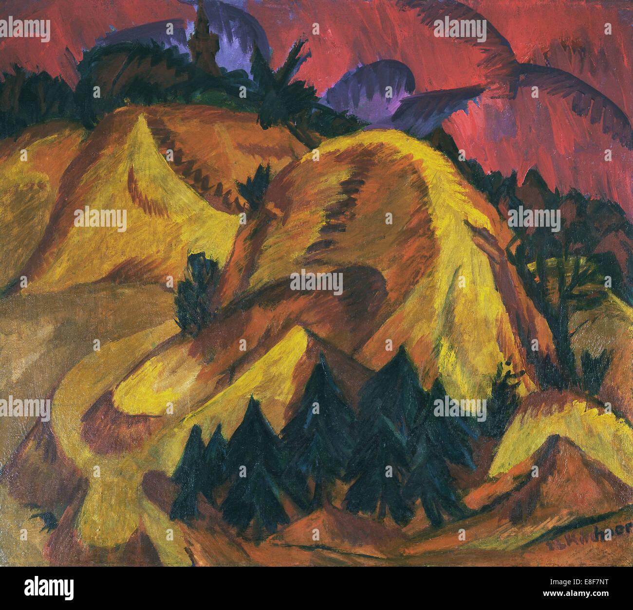 Colline di sabbia dell'Engadina. Artista: Kirchner, Ernst Ludwig (1880-1938) Immagini Stock