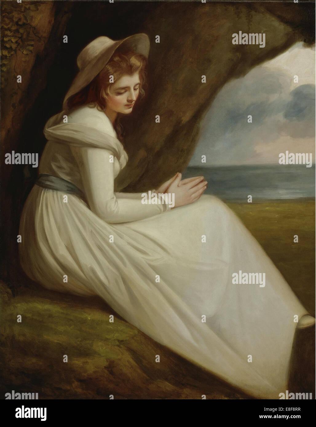 Emma, Lady Hamilton. Artista: Romney, George (1734-1802) Immagini Stock