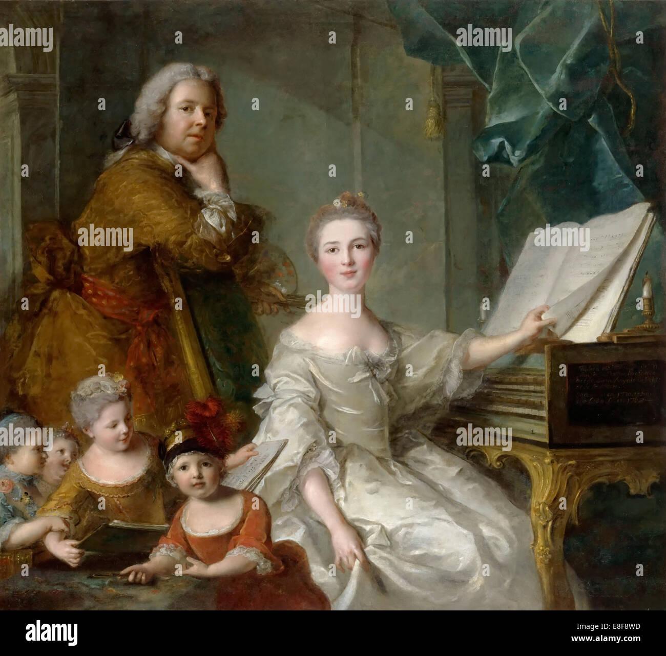 Jean-Marc Nattier e la sua famiglia. Artista: Nattier, Jean-Marc (1685-1766) Immagini Stock