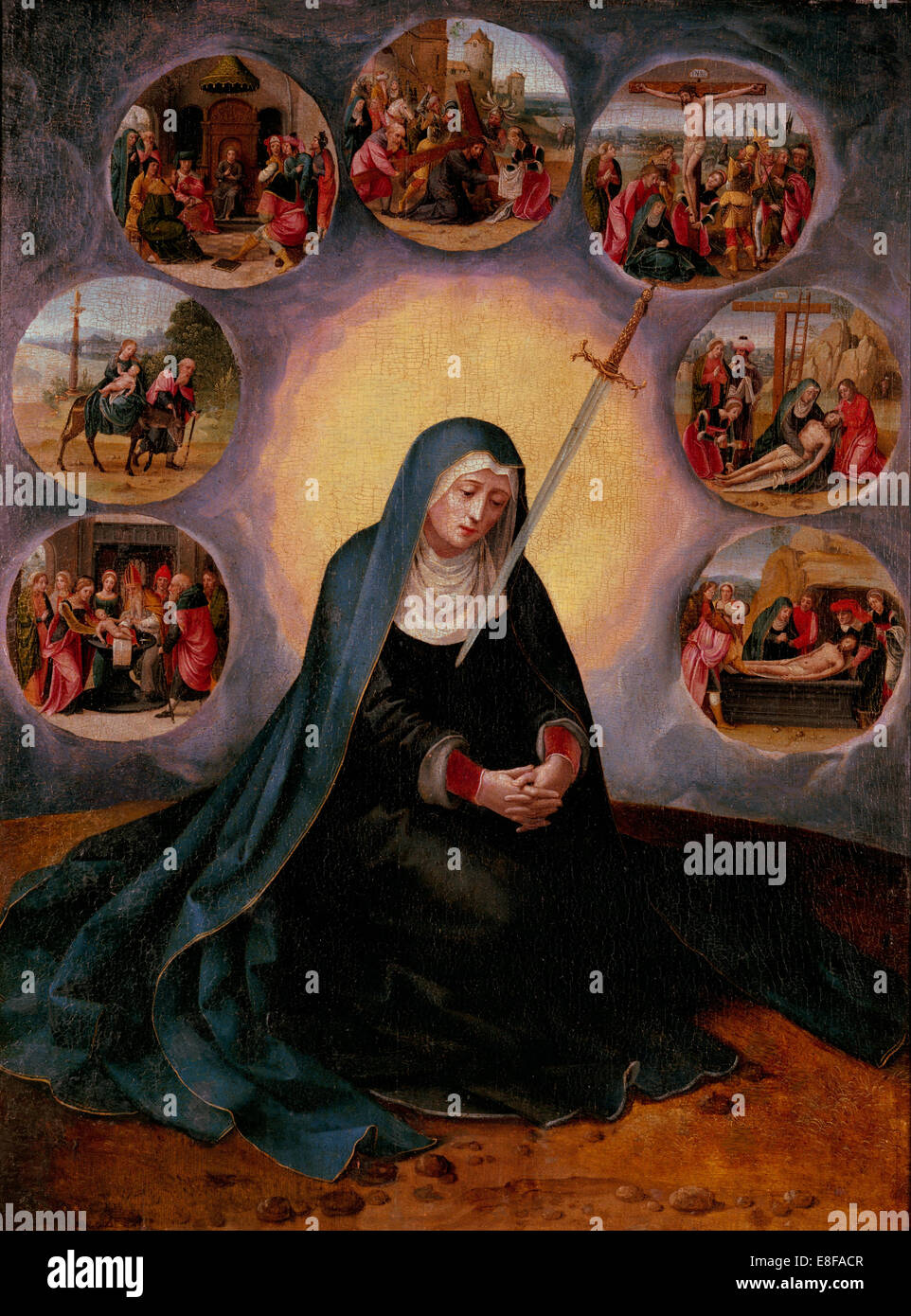 La Madonna dei Sette Dolori. Artista: Master della femmina Half-Lengths (prima metà del XVI secolo). Immagini Stock