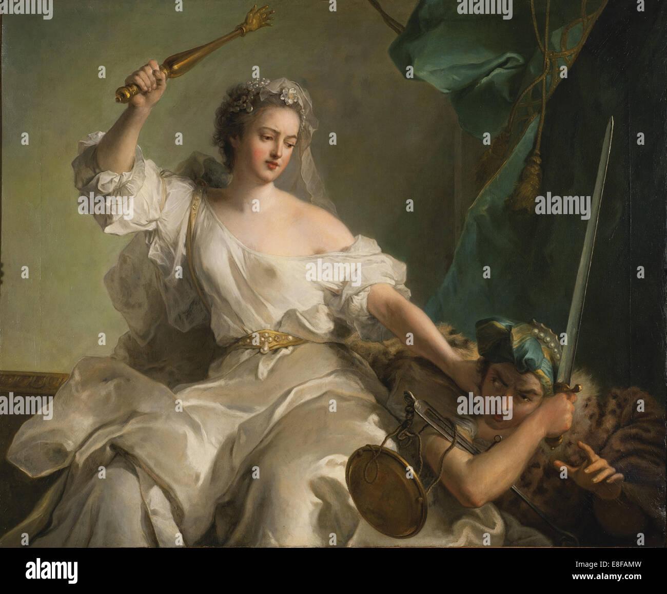Allegoria della giustizia lotta contro l'ingiustizia. Artista: Nattier, Jean-Marc (1685-1766) Immagini Stock