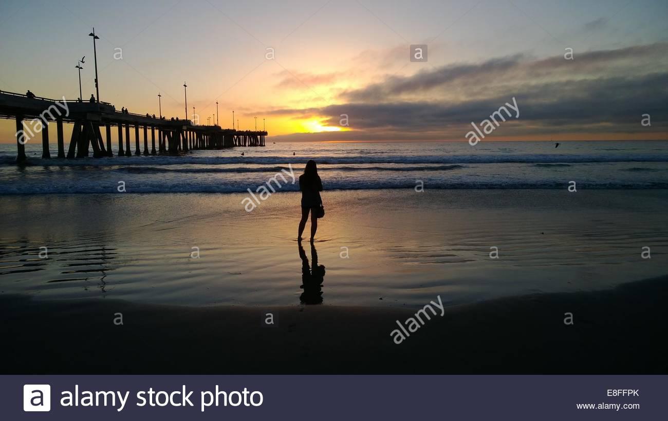 Vista posteriore della donna che guarda al tramonto Immagini Stock