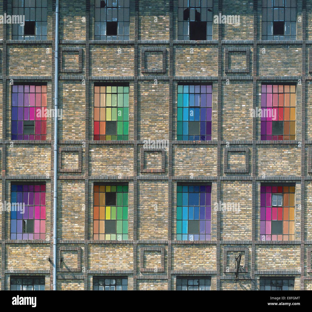 Stati Uniti d'America, nello Stato di New York, New York City e colorati di windows Immagini Stock