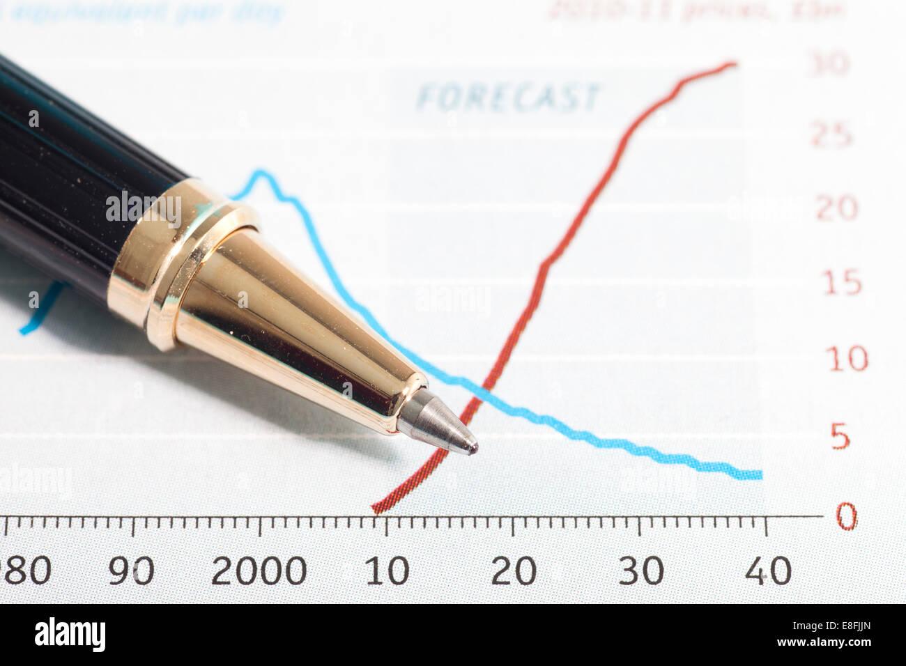 Grafico finanziario e penna Immagini Stock
