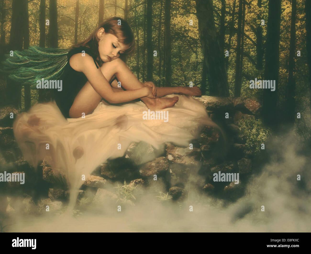 Fata nei boschi Immagini Stock