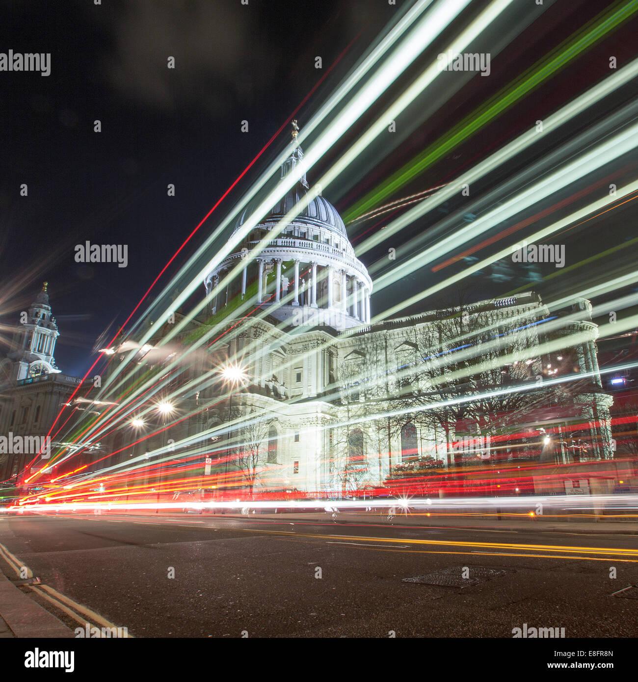 Regno Unito, Londra, la Cattedrale di St Paul di notte Immagini Stock