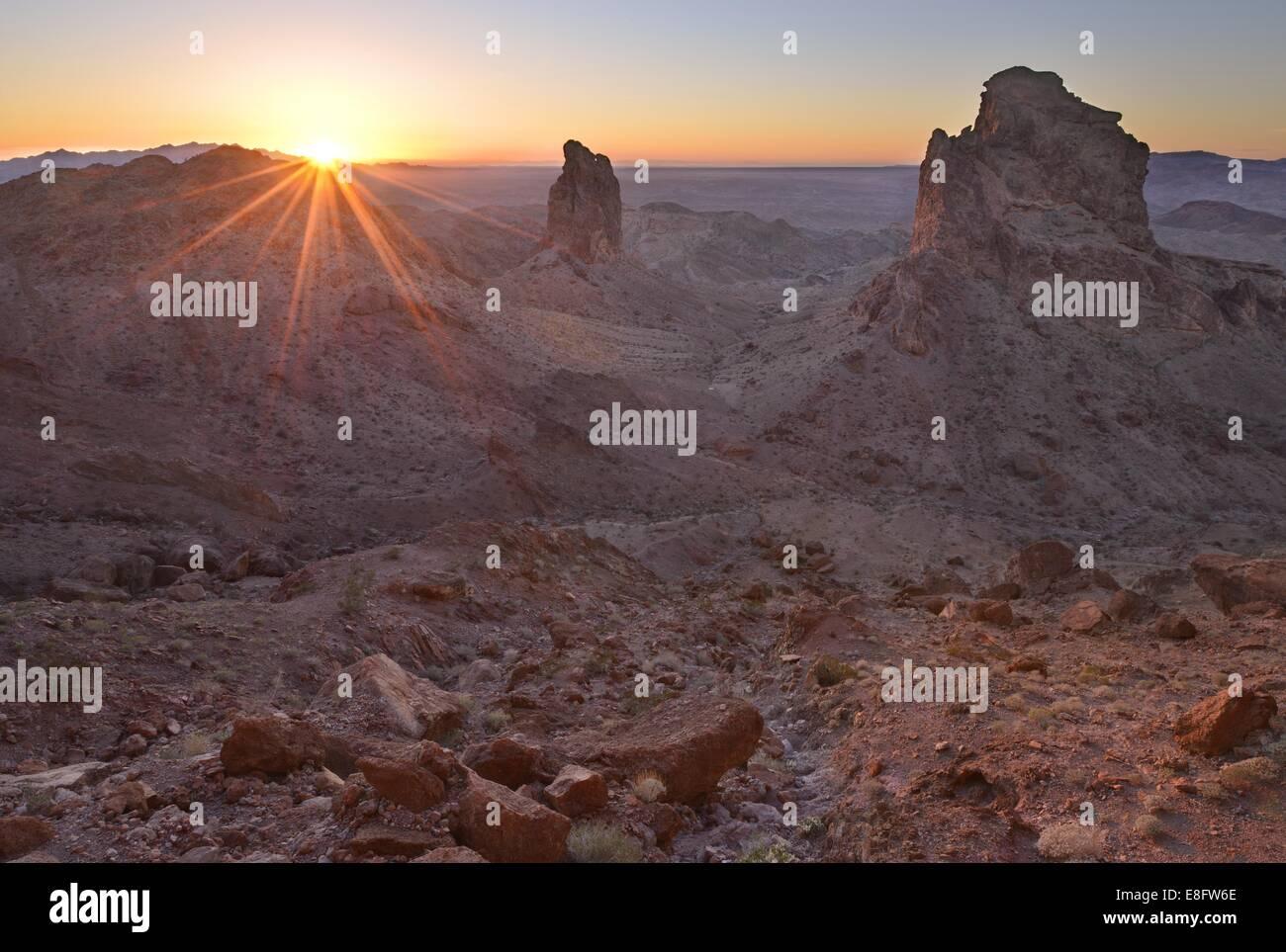 Stati Uniti, California, Picacho Peak Wilderness, sentinelle della Picacho Tramonto Immagini Stock