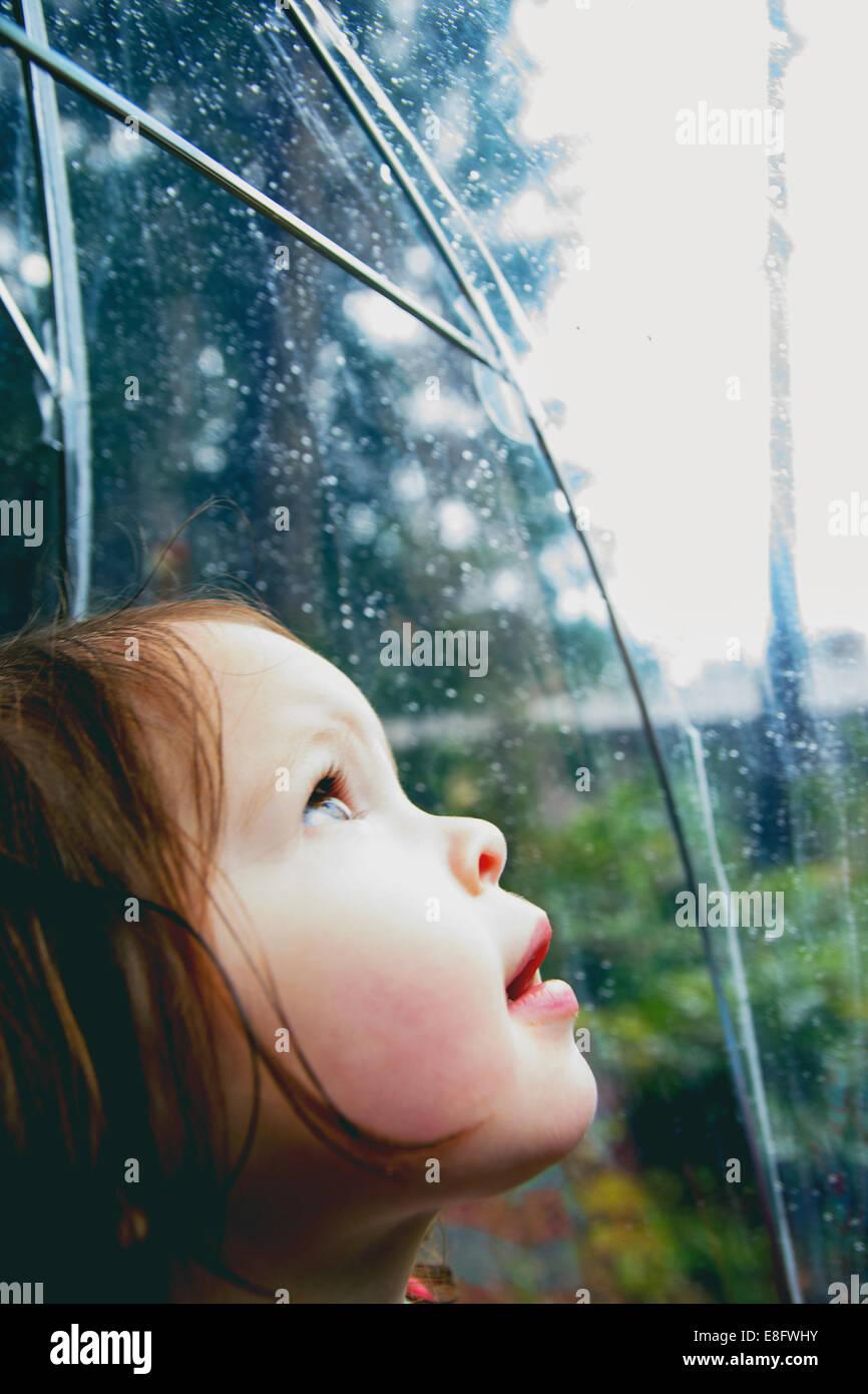 Ragazza in piedi sotto la pioggia guardando attraverso un ombrello trasparente, Stati Uniti Foto Stock