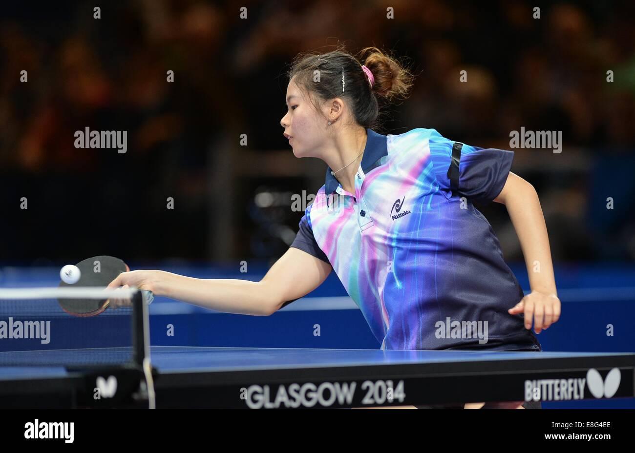Ho Ying (MAS). Donne Squadra Finale. Tavolo da ping pong.Scotstoun Sport Campus, Glasgow, Scotland, Regno Unito Immagini Stock