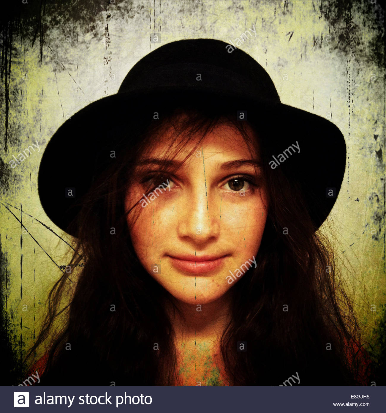 Ritratto di una ragazza che indossa hat Immagini Stock