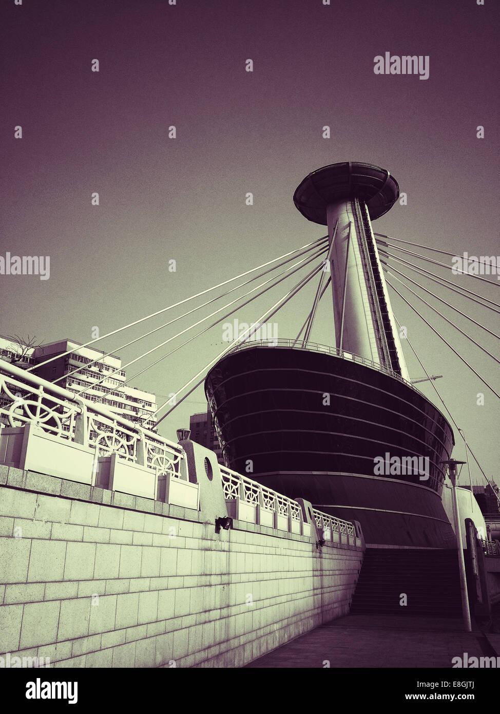 Cina, Tianjin, vista di edificio moderno Immagini Stock